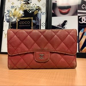 CHANEL L Flap Quilted Classic Lambskin Deep Red CC